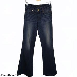 Express Dark Wide Leg Flare Mid Rise Denim Jeans